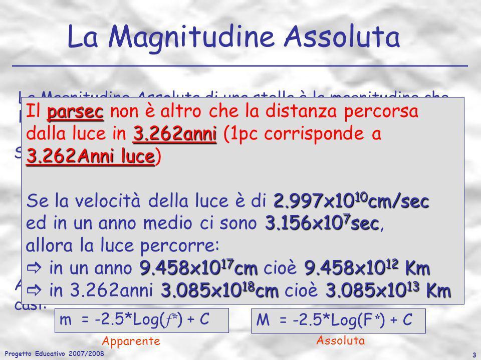 Progetto Educativo 2007/2008 24 I Diagrammi HR A parità di T eff si osservano anche delle stelle più luminose della MS le quali avranno raggi più grandi: GIGANTI Infatti: se T 1 =T 2 ed L 2 > L 1 se L 2 /L 1 = (R 2 /R 1 ) 2 R 2 > R 1