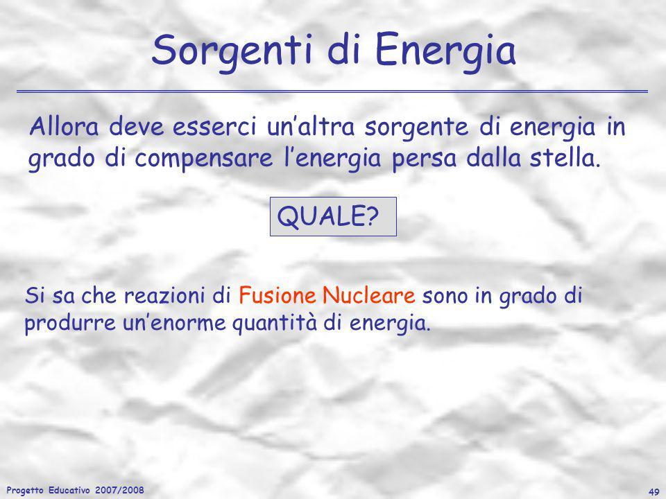 Progetto Educativo 2007/2008 49 Sorgenti di Energia Allora deve esserci unaltra sorgente di energia in grado di compensare lenergia persa dalla stella