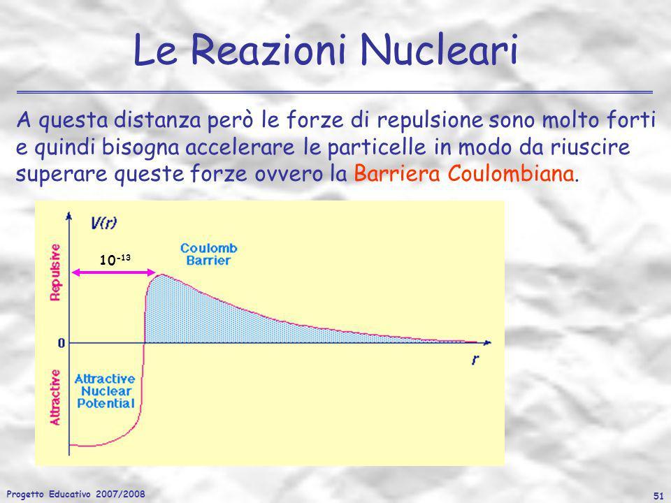 Progetto Educativo 2007/2008 51 Le Reazioni Nucleari A questa distanza però le forze di repulsione sono molto forti e quindi bisogna accelerare le par
