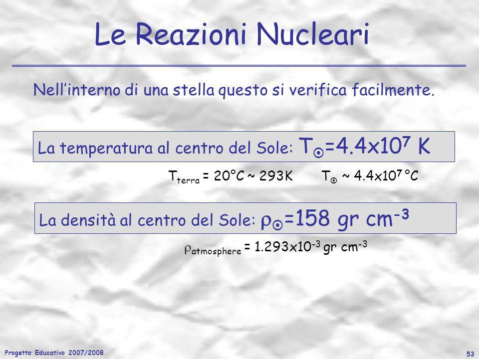 Progetto Educativo 2007/2008 53 Le Reazioni Nucleari Nellinterno di una stella questo si verifica facilmente. La densità al centro del Sole: =158 gr c