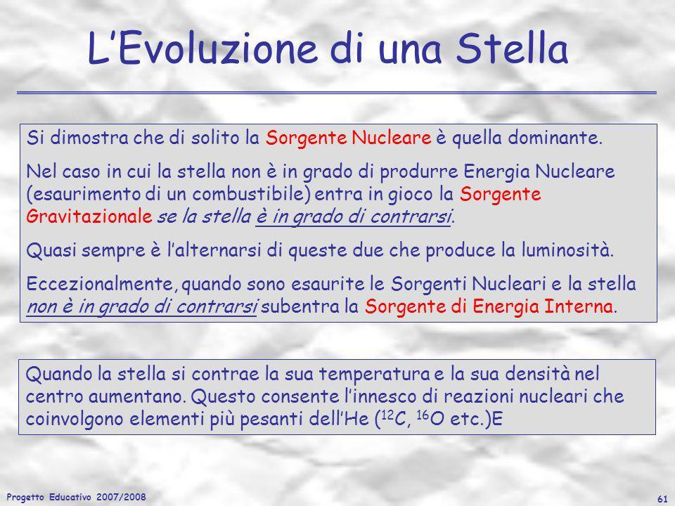 Progetto Educativo 2007/2008 61 LEvoluzione di una Stella Quando la stella si contrae la sua temperatura e la sua densità nel centro aumentano. Questo