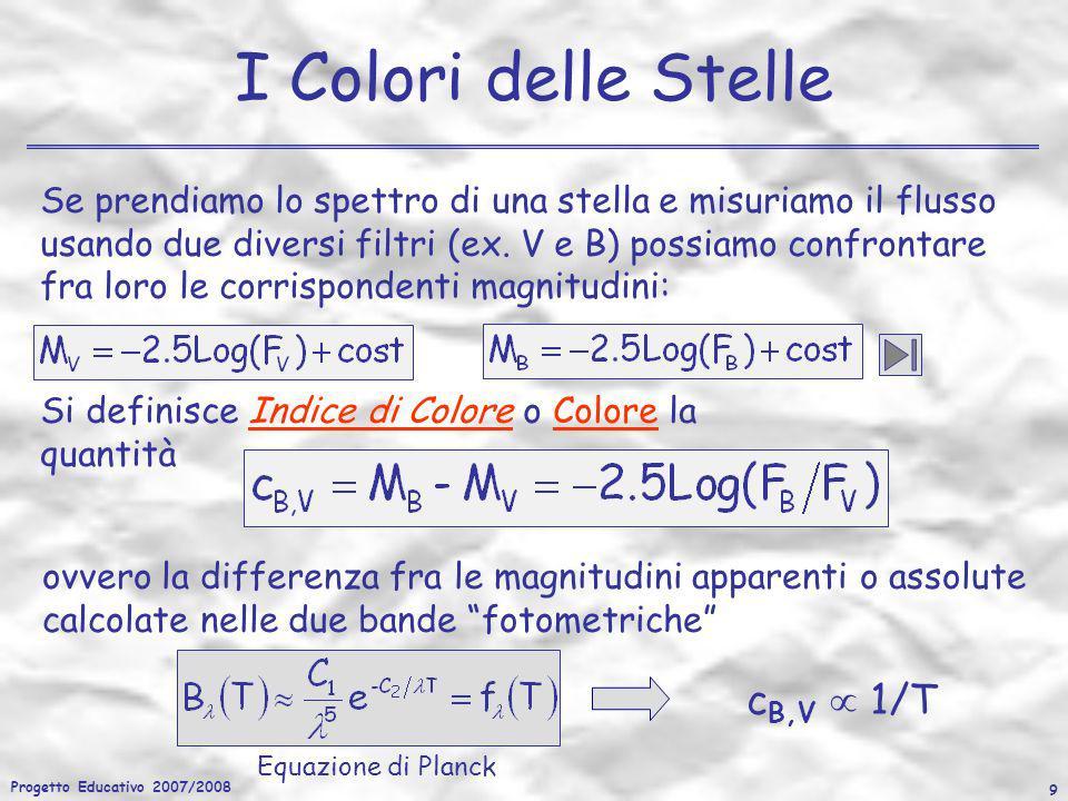 Progetto Educativo 2007/2008 9 I Colori delle Stelle Si definisce Indice di Colore o Colore la quantità c B,V 1/T ovvero la differenza fra le magnitud