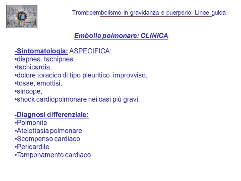 Tromboembolismo in gravidanza e puerperio: Linee guida Embolia polmonare: CLINICA -Sintomatologia: ASPECIFICA: dispnea, tachipneadispnea, tachipnea tachicardia,tachicardia, dolore toracico di tipo pleuritico improvviso,dolore toracico di tipo pleuritico improvviso, tosse, emottisi,tosse, emottisi, sincope,sincope, shock cardiopolmonare nei casi più gravi.shock cardiopolmonare nei casi più gravi.