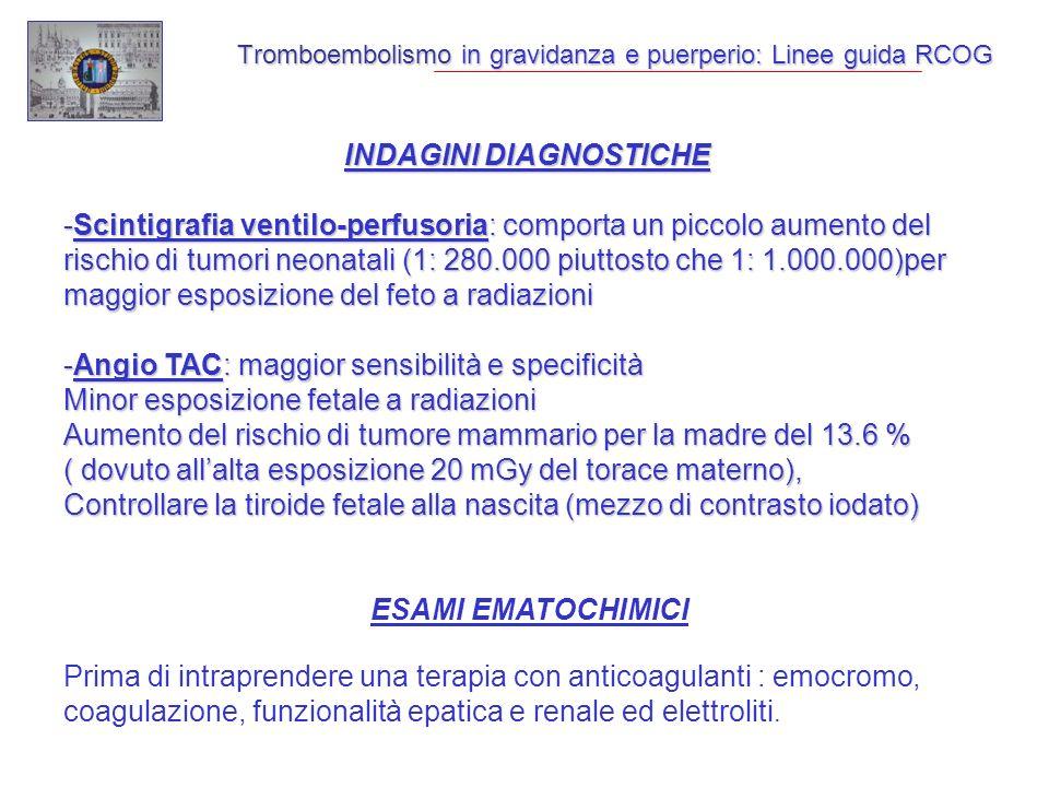 Tromboembolismo in gravidanza e puerperio: Linee guida RCOG INDAGINI DIAGNOSTICHE -Scintigrafia ventilo-perfusoria: comporta un piccolo aumento del rischio di tumori neonatali (1: 280.000 piuttosto che 1: 1.000.000)per maggior esposizione del feto a radiazioni -Angio TAC: maggior sensibilità e specificità Minor esposizione fetale a radiazioni Aumento del rischio di tumore mammario per la madre del 13.6 % ( dovuto allalta esposizione 20 mGy del torace materno), Controllare la tiroide fetale alla nascita (mezzo di contrasto iodato) ESAMI EMATOCHIMICI Prima di intraprendere una terapia con anticoagulanti : emocromo, coagulazione, funzionalità epatica e renale ed elettroliti.