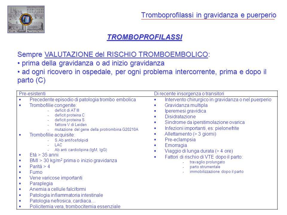 Tromboprofilassi in gravidanza e puerperio TROMBOPROFILASSI Sempre VALUTAZIONE del RISCHIO TROMBOEMBOLICO: prima della gravidanza o ad inizio gravidan