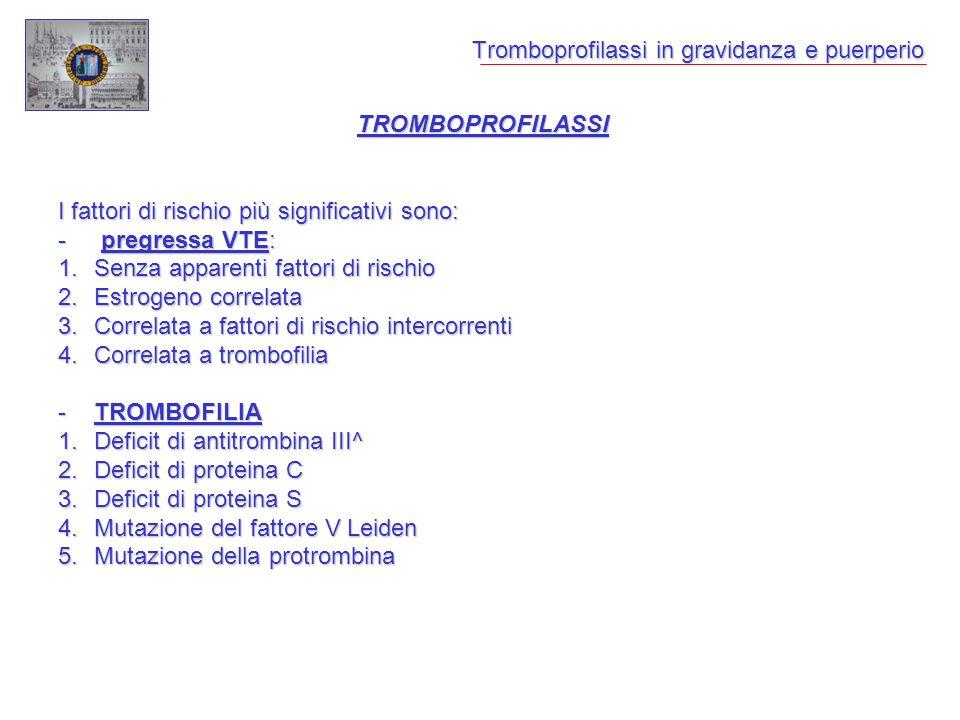 Tromboprofilassi in gravidanza e puerperio TROMBOPROFILASSI I fattori di rischio più significativi sono: - pregressa VTE: 1.Senza apparenti fattori di rischio 2.Estrogeno correlata 3.Correlata a fattori di rischio intercorrenti 4.Correlata a trombofilia -TROMBOFILIA 1.Deficit di antitrombina III^ 2.Deficit di proteina C 3.Deficit di proteina S 4.Mutazione del fattore V Leiden 5.Mutazione della protrombina