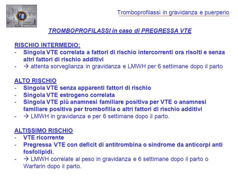 Tromboprofilassi in gravidanza e puerperio TROMBOPROFILASSI in caso di PREGRESSA VTE RISCHIO INTERMEDIO: -Singola VTE correlata a fattori di rischio i