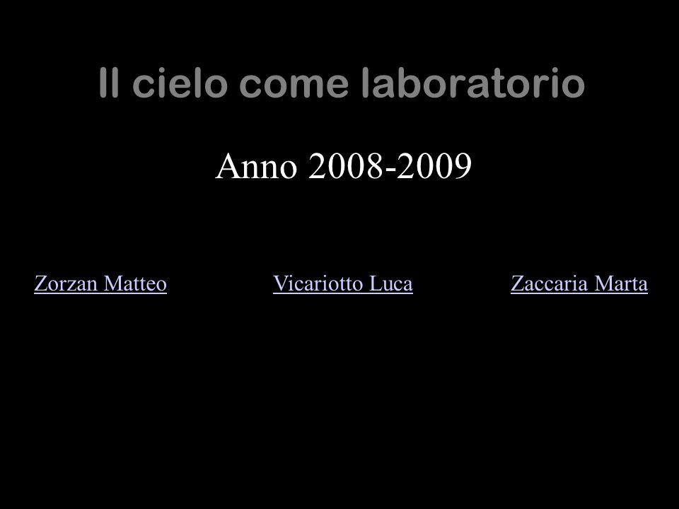 Il cielo come laboratorio Anno 2008-2009 Zorzan MatteoVicariotto LucaZaccaria Marta