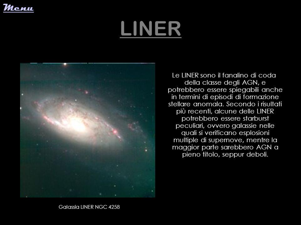 LINER Le LINER sono il fanalino di coda della classe degli AGN, e potrebbero essere spiegabili anche in termini di episodi di formazione stellare anom