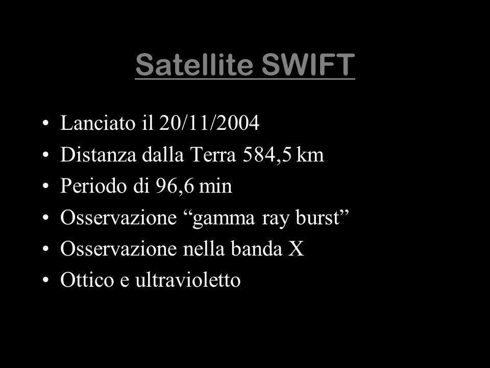 Satellite SWIFT Lanciato il 20/11/2004 Distanza dalla Terra 584,5 km Periodo di 96,6 min Osservazione gamma ray burst Osservazione nella banda X Ottic