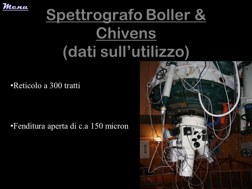 Spettrografo Boller & Chivens (dati sullutilizzo) Reticolo a 300 tratti Fenditura aperta di c.a 150 micron Menu