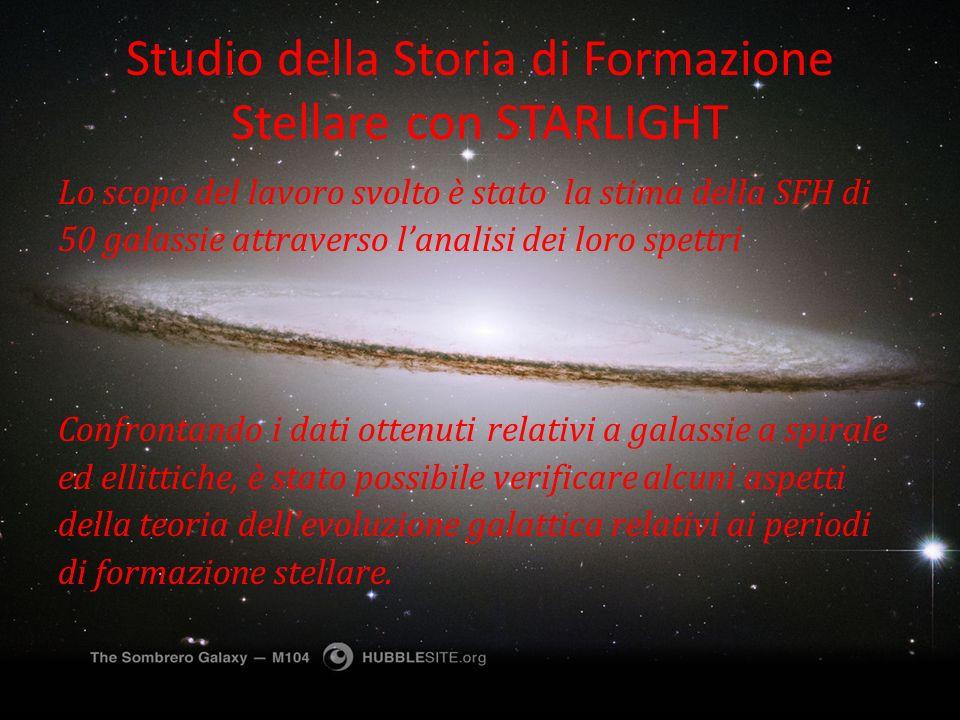 Studio della Storia di Formazione Stellare con STARLIGHT Lo scopo del lavoro svolto è stato la stima della SFH di 50 galassie attraverso lanalisi dei