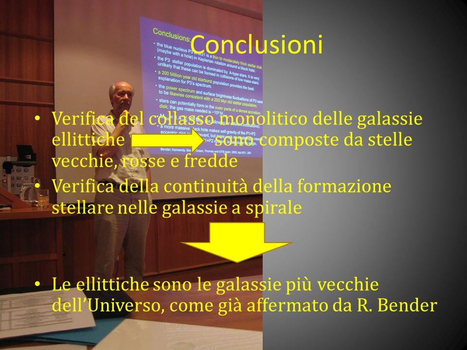 Conclusioni Verifica del collasso monolitico delle galassie ellittiche sono composte da stelle vecchie, rosse e fredde Verifica della continuità della