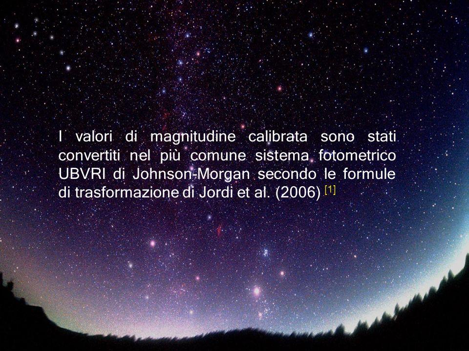 I valori di magnitudine calibrata sono stati convertiti nel più comune sistema fotometrico UBVRI di Johnson-Morgan secondo le formule di trasformazion