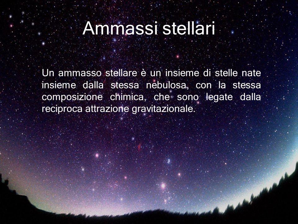 Ammassi stellari Un ammasso stellare è un insieme di stelle nate insieme dalla stessa nebulosa, con la stessa composizione chimica, che sono legate da
