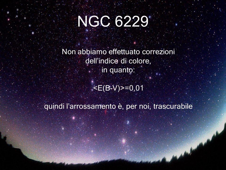 NGC 6229 Non abbiamo effettuato correzioni dellindice di colore, in quanto: =0,01 quindi larrossamento è, per noi, trascurabile