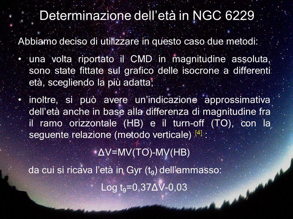Determinazione delletà in NGC 6229 Abbiamo deciso di utilizzare in questo caso due metodi: una volta riportato il CMD in magnitudine assoluta, sono st