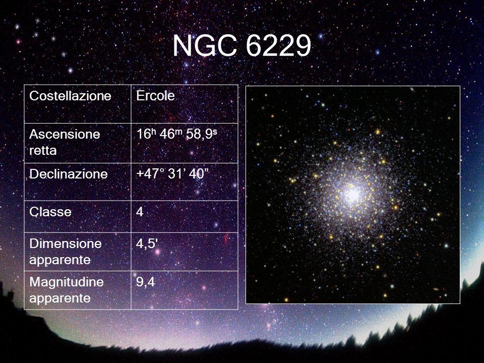 NGC 6229 Costellazione Ercole Ascensione retta 16 h 46 m 58,9 s Declinazione +47° 31 40 Classe4 Dimensione apparente 4,5' Magnitudine apparente 9,4