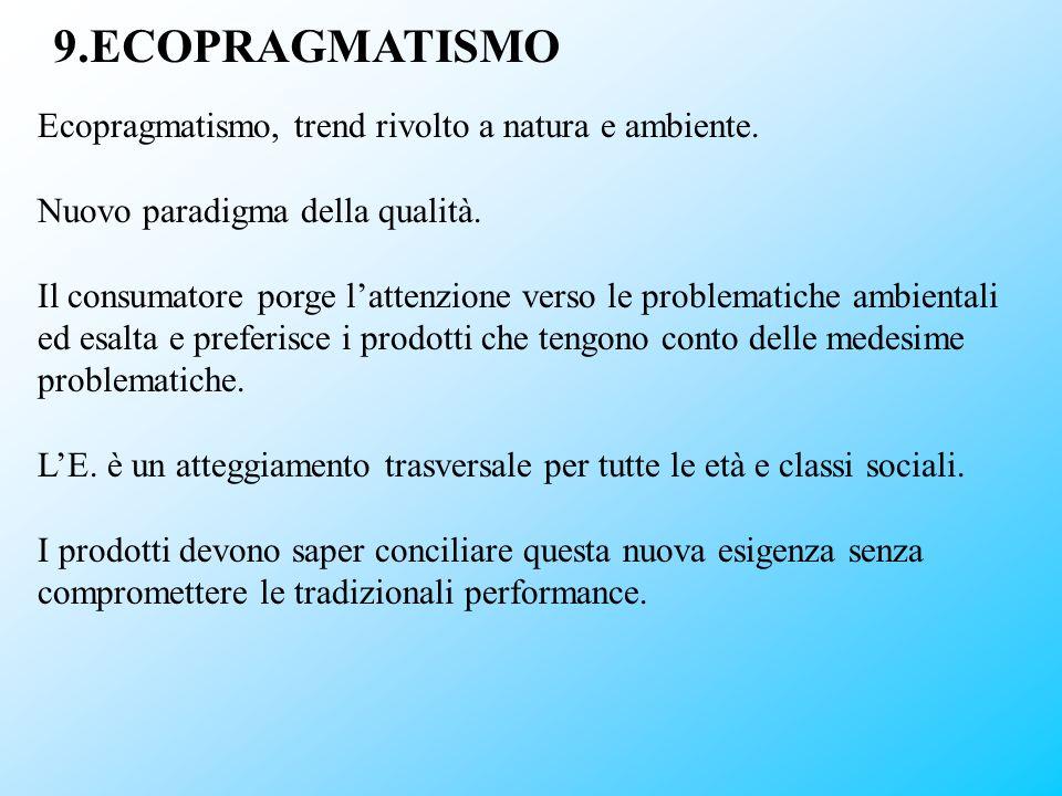 9.ECOPRAGMATISMO Ecopragmatismo, trend rivolto a natura e ambiente. Nuovo paradigma della qualità. Il consumatore porge lattenzione verso le problemat