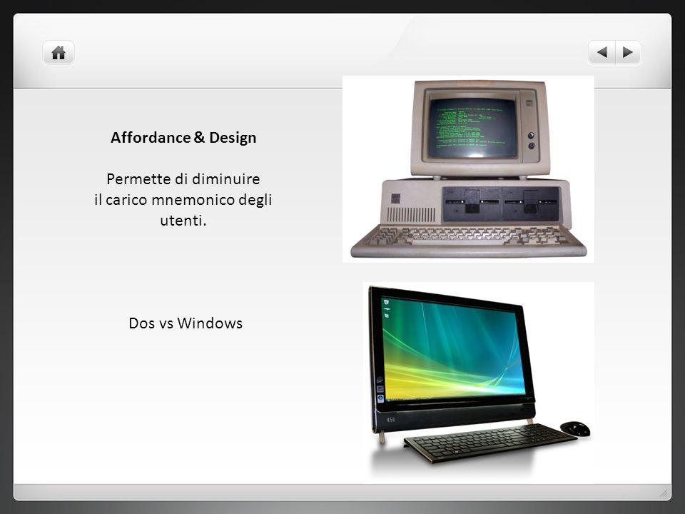 Affordance & Design Permette di diminuire il carico mnemonico degli utenti. Dos vs Windows