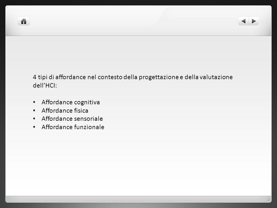 4 tipi di affordance nel contesto della progettazione e della valutazione dellHCI: Affordance cognitiva Affordance fisica Affordance sensoriale Afford