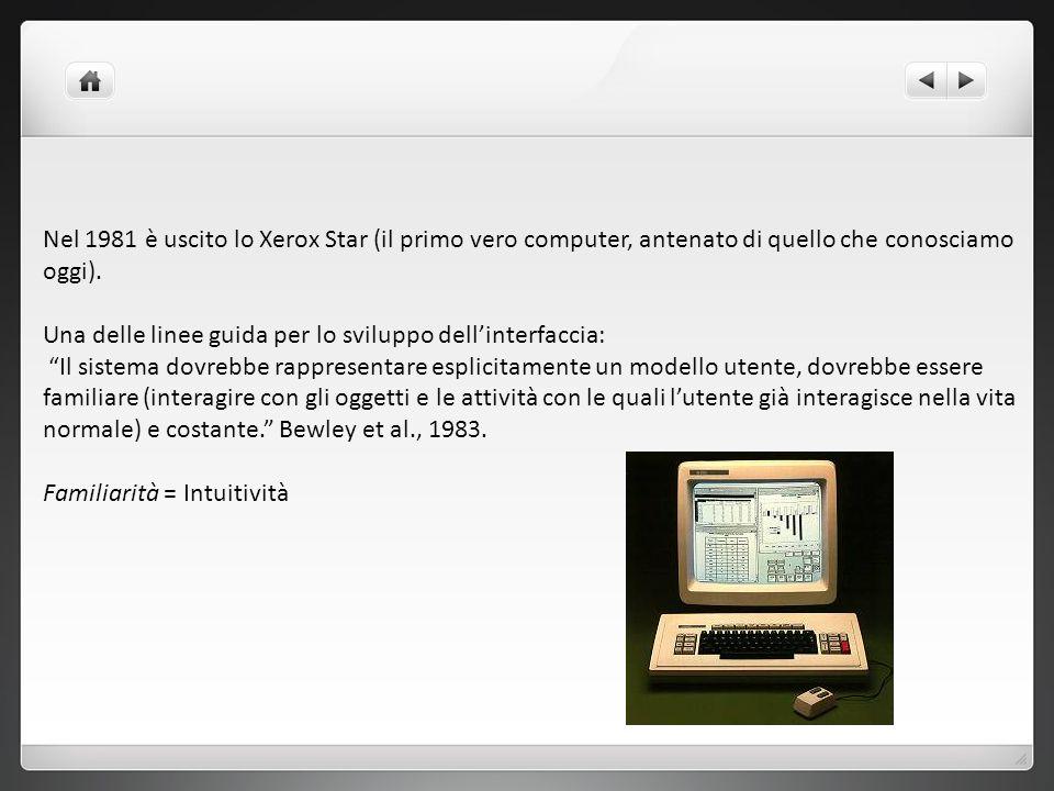 Nel 1981 è uscito lo Xerox Star (il primo vero computer, antenato di quello che conosciamo oggi). Una delle linee guida per lo sviluppo dellinterfacci