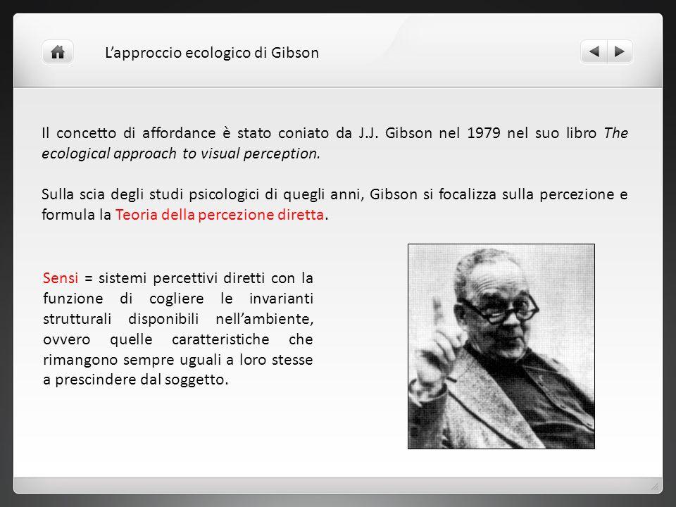 Il concetto di affordance è stato coniato da J.J. Gibson nel 1979 nel suo libro The ecological approach to visual perception. Sulla scia degli studi p