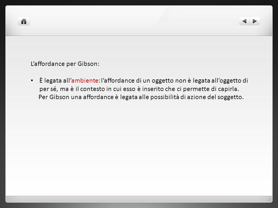 Laffordance per Gibson: È legata allambiente: laffordance di un oggetto non è legata alloggetto di per sé, ma è il contesto in cui esso è inserito che