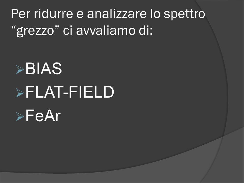 Per ridurre e analizzare lo spettro grezzo ci avvaliamo di: BIAS FLAT-FIELD FeAr