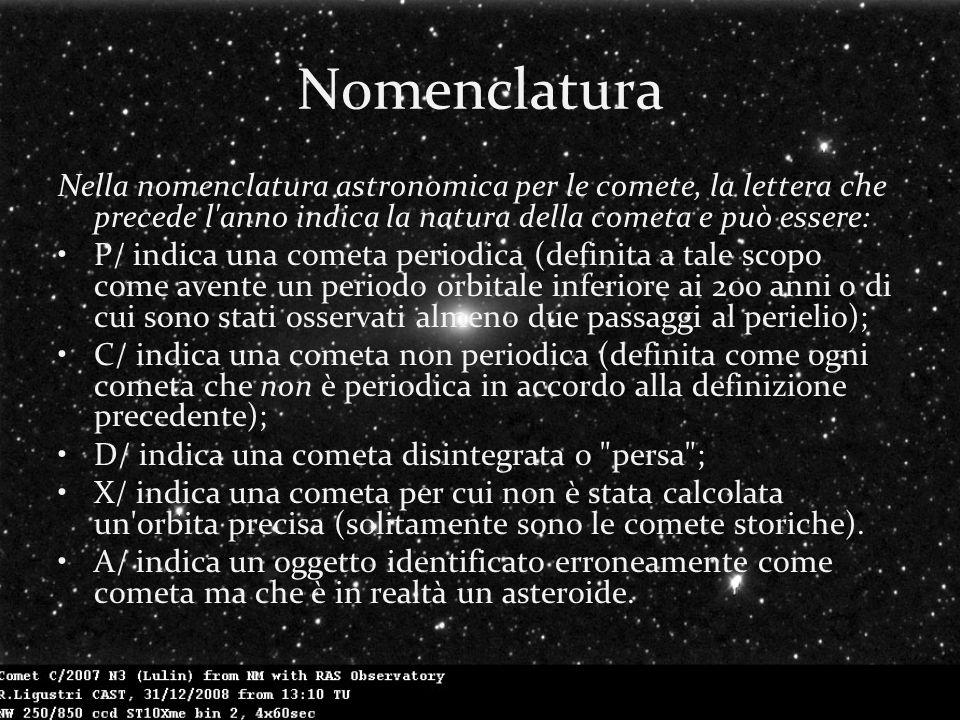 Nomenclatura Nella nomenclatura astronomica per le comete, la lettera che precede l anno indica la natura della cometa e può essere: P/ indica una cometa periodica (definita a tale scopo come avente un periodo orbitale inferiore ai 200 anni o di cui sono stati osservati almeno due passaggi al perielio); C/ indica una cometa non periodica (definita come ogni cometa che non è periodica in accordo alla definizione precedente); D/ indica una cometa disintegrata o persa ; X/ indica una cometa per cui non è stata calcolata un orbita precisa (solitamente sono le comete storiche).