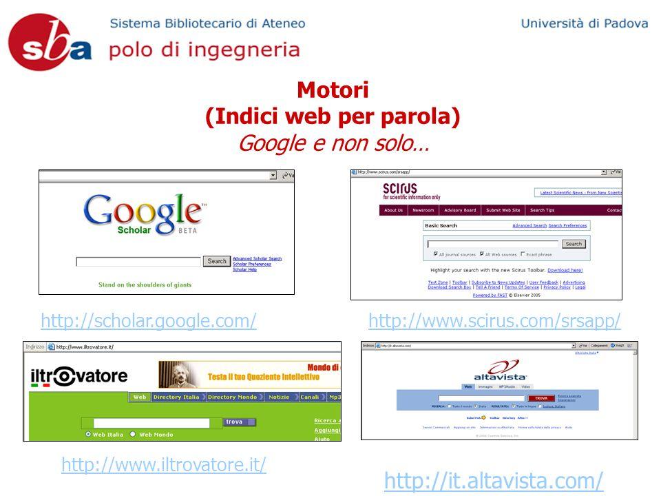 Motori (Indici web per parola) Google e non solo… http://scholar.google.com/ http://www.iltrovatore.it/ http://www.scirus.com/srsapp/ http://it.altavi