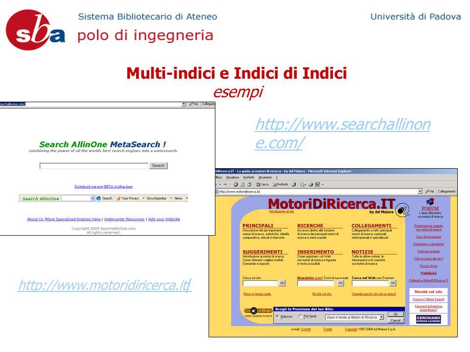 Multi-indici e Indici di Indici esempi http://www.searchallinon e.com/ http://www.motoridiricerca.it /