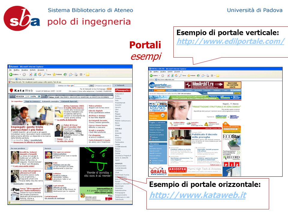 Portali esempi Esempio di portale verticale: http://www.edilportale.com/ Esempio di portale orizzontale: http://www.kataweb.it
