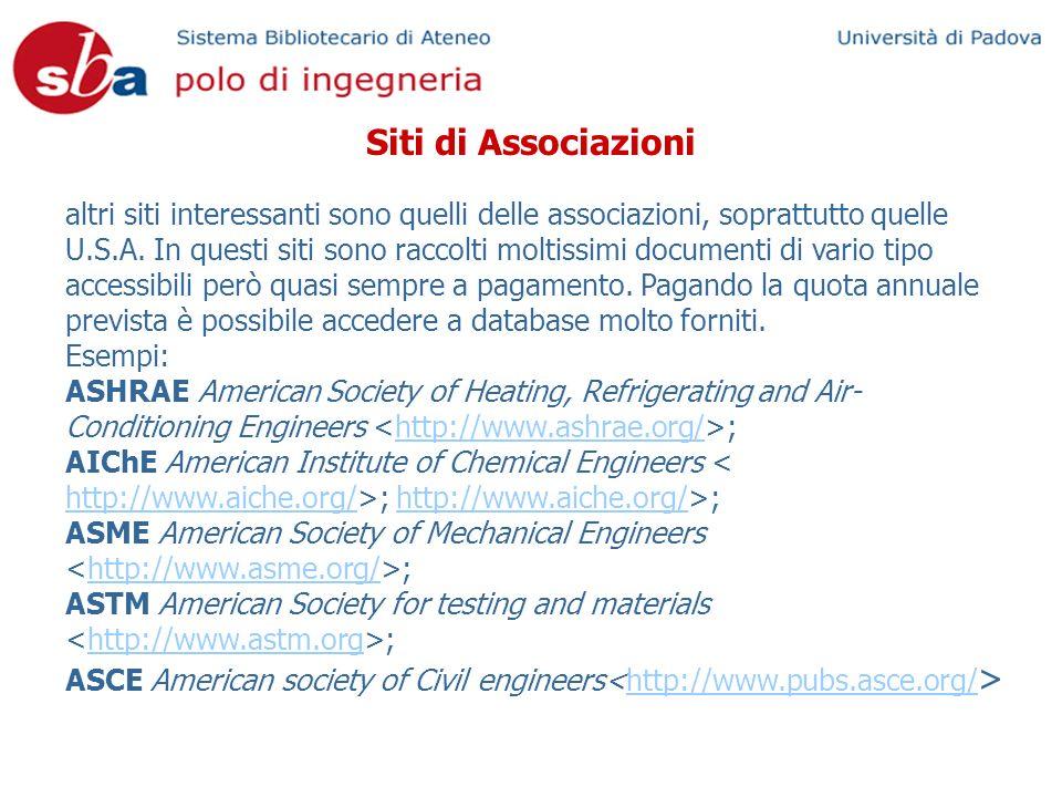 Siti di Associazioni altri siti interessanti sono quelli delle associazioni, soprattutto quelle U.S.A.
