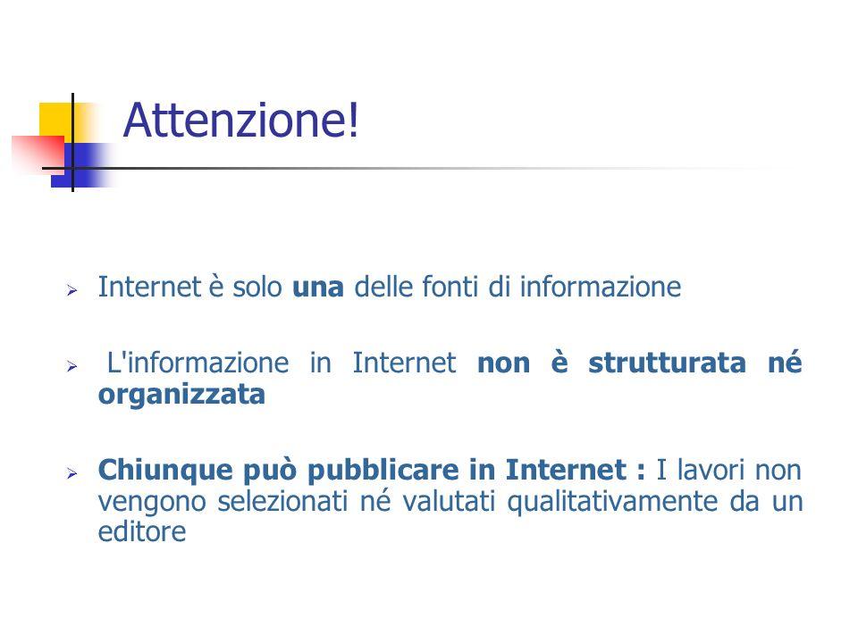 Attenzione! Internet è solo una delle fonti di informazione L'informazione in Internet non è strutturata né organizzata Chiunque può pubblicare in Int