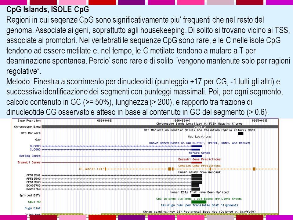 CpG Islands, ISOLE CpG Regioni in cui seqenze CpG sono significativamente piu frequenti che nel resto del genoma.