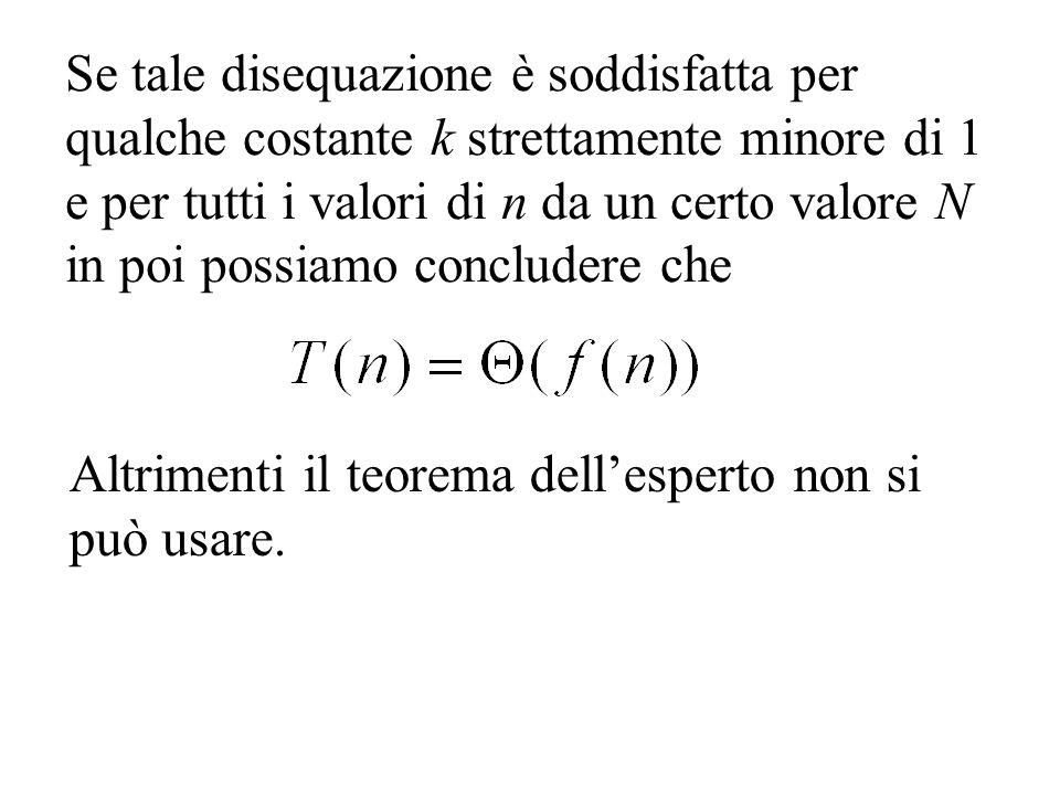 Se tale disequazione è soddisfatta per qualche costante k strettamente minore di 1 e per tutti i valori di n da un certo valore N in poi possiamo concludere che Altrimenti il teorema dellesperto non si può usare.