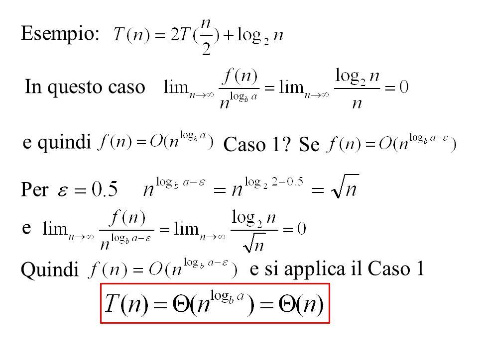 Esempio: Quindi e si applica il Caso 1 e quindi In questo caso Se Per Caso 1 e