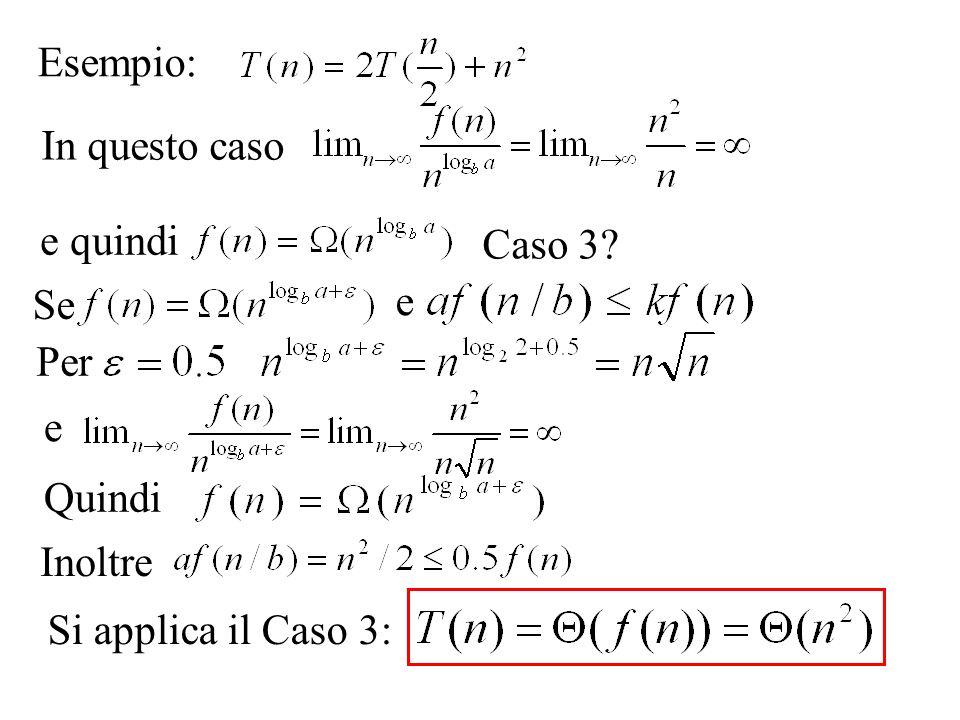 Esempio: ma e quindi per qualunque e quindi non esiste nessun k < 1 tale che per ogni n > N ma Dunque non si può usare il metodo dellesperto.