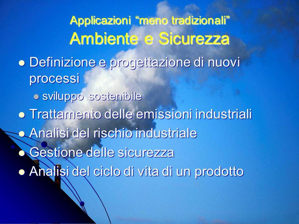 Applicazioni meno tradizionali Ambiente e Sicurezza Definizione e progettazione di nuovi processi Definizione e progettazione di nuovi processi svilup