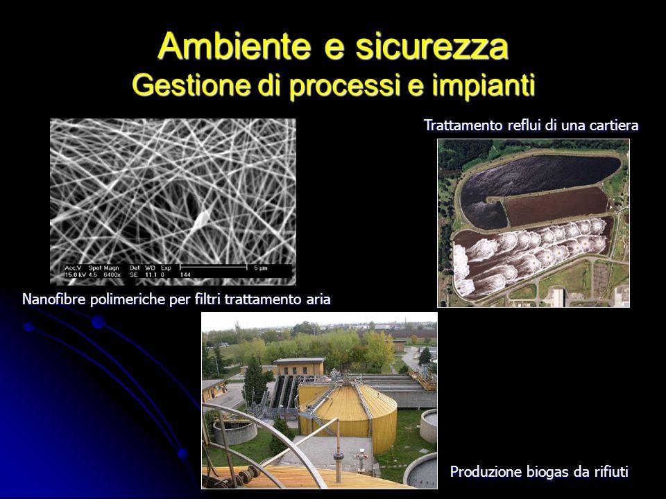Ambiente e sicurezza Gestione di processi e impianti Trattamento reflui di una cartiera Nanofibre polimeriche per filtri trattamento aria Produzione b
