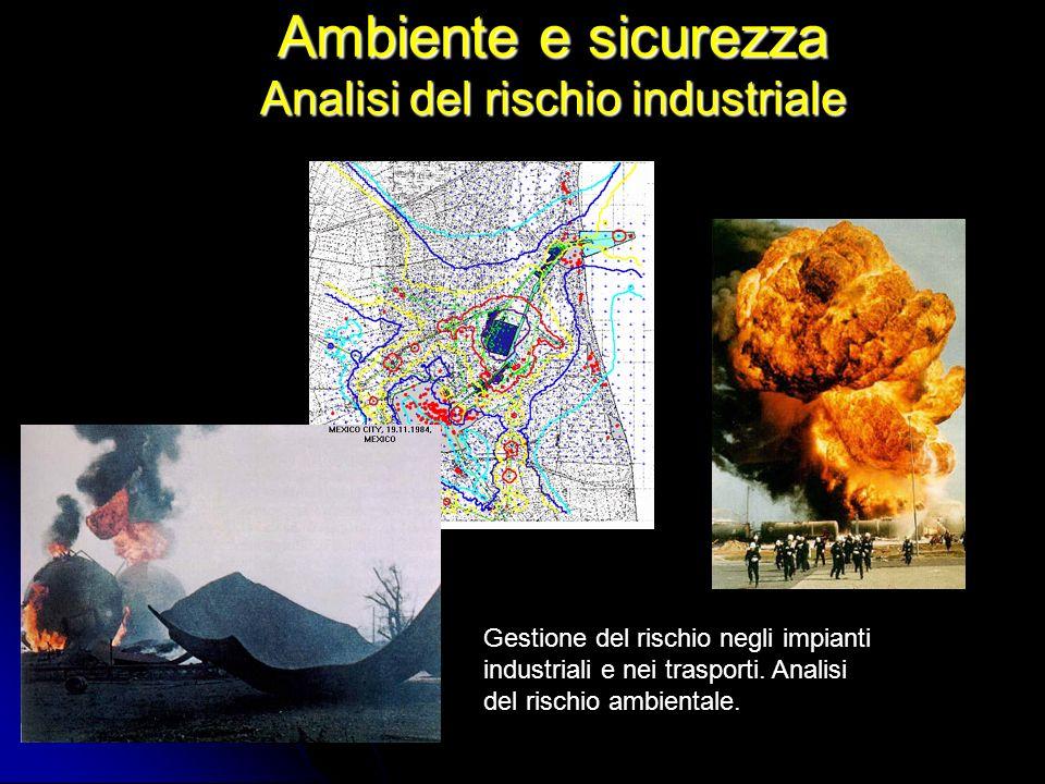 Ambiente e sicurezza Analisi del rischio industriale Gestione del rischio negli impianti industriali e nei trasporti. Analisi del rischio ambientale.