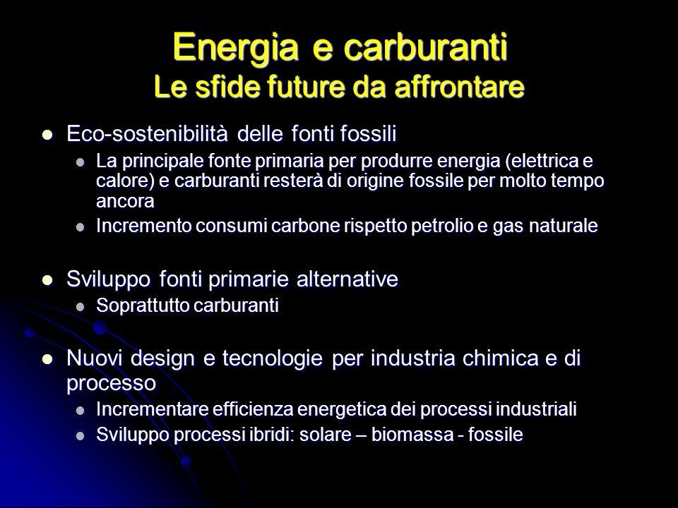 Energia e carburanti Un carbone sostenibile carbone biomassa H 2 + CO Diesel Benzina H2H2 CO 2 Energia