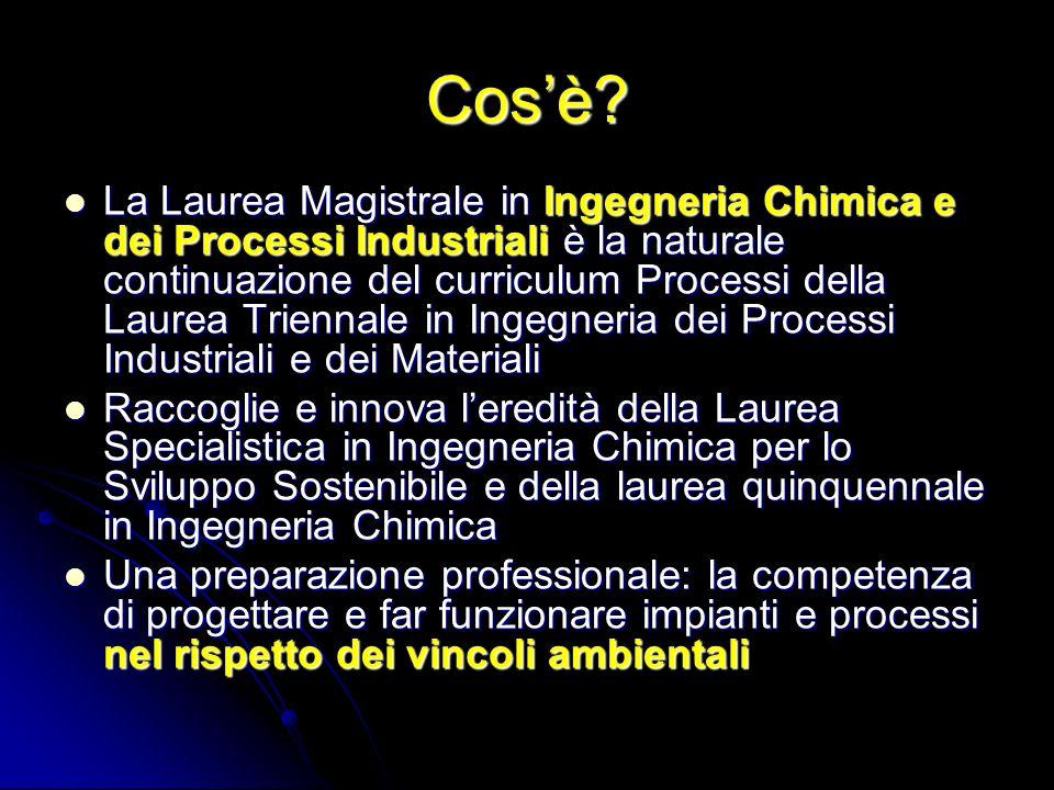 Cosè? La Laurea Magistrale in Ingegneria Chimica e dei Processi Industriali è la naturale continuazione del curriculum Processi della Laurea Triennale