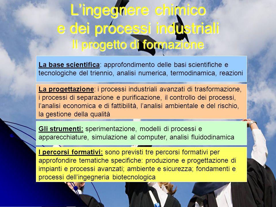 Lingegnere chimico e dei processi industriali Il progetto di formazione La base scientifica: approfondimento delle basi scientifiche e tecnologiche de
