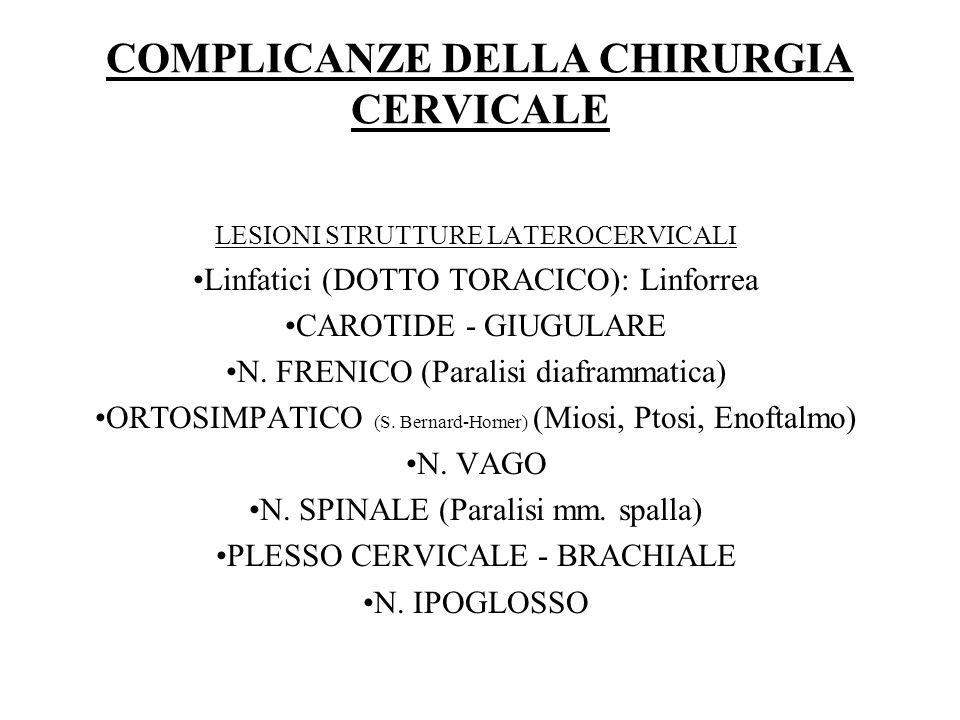 COMPLICANZE DELLA CHIRURGIA CERVICALE LESIONI STRUTTURE LATEROCERVICALI Linfatici (DOTTO TORACICO): Linforrea CAROTIDE - GIUGULARE N. FRENICO (Paralis