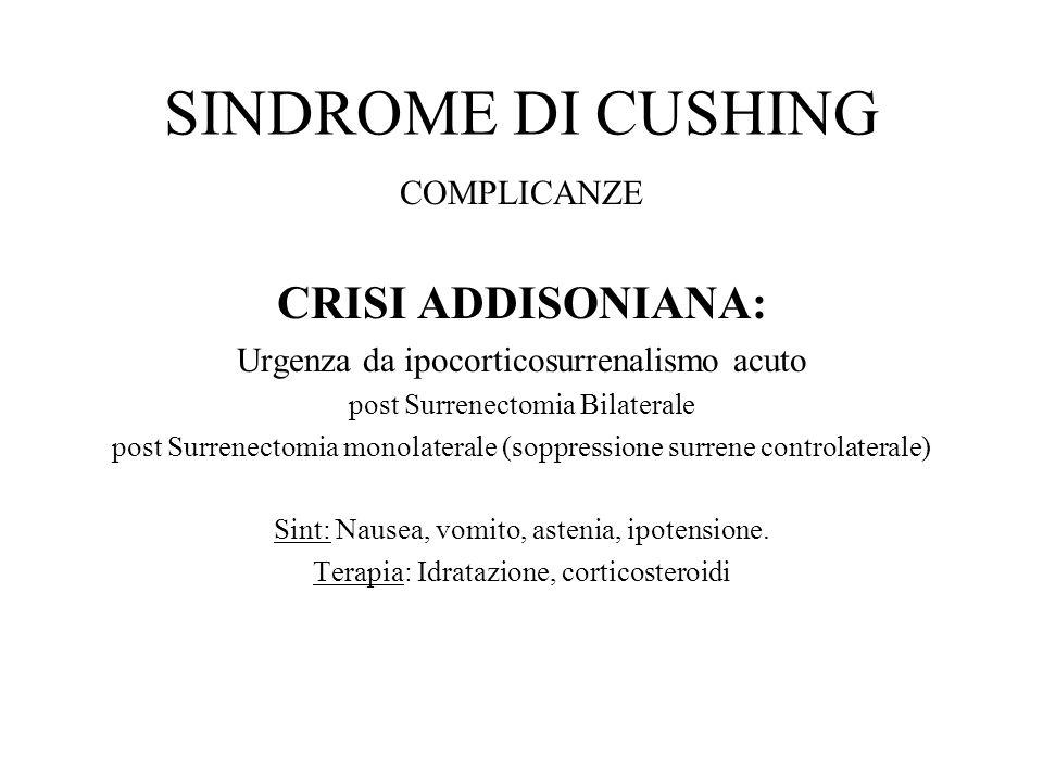 SINDROME DI CUSHING COMPLICANZE CRISI ADDISONIANA: Urgenza da ipocorticosurrenalismo acuto post Surrenectomia Bilaterale post Surrenectomia monolatera