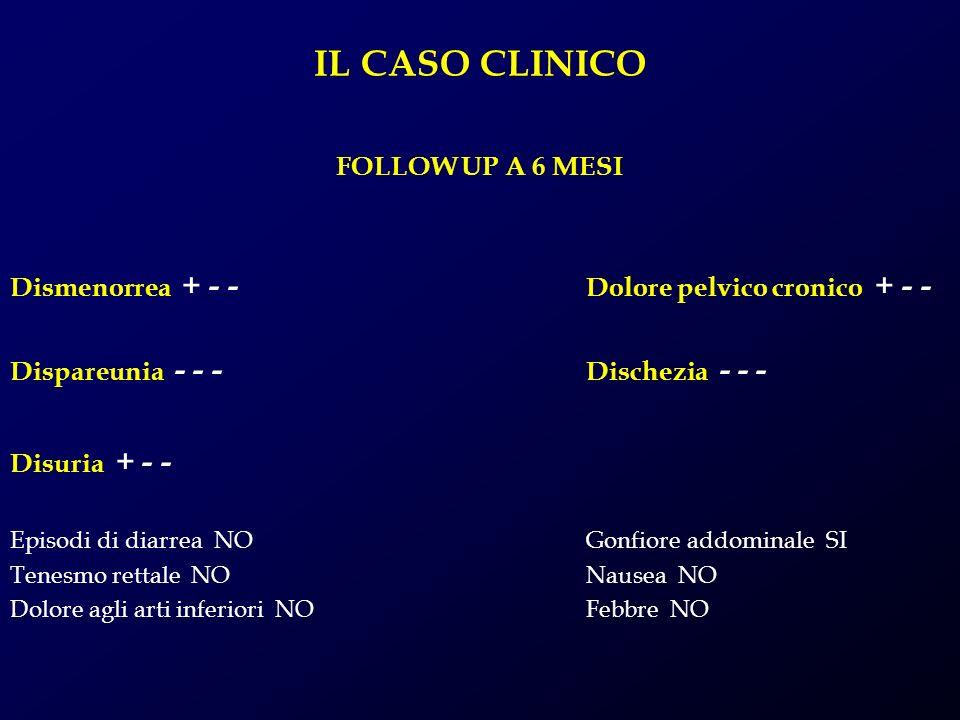 IL CASO CLINICO FOLLOW UP A 6 MESI Dismenorrea + - - Dolore pelvico cronico + - - Dispareunia - - - Dischezia - - - Disuria + - - Episodi di diarrea N