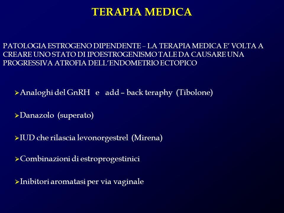 TERAPIA MEDICA Analoghi del GnRH e add – back teraphy (Tibolone) Danazolo (superato) IUD che rilascia levonorgestrel (Mirena) Combinazioni di estropro