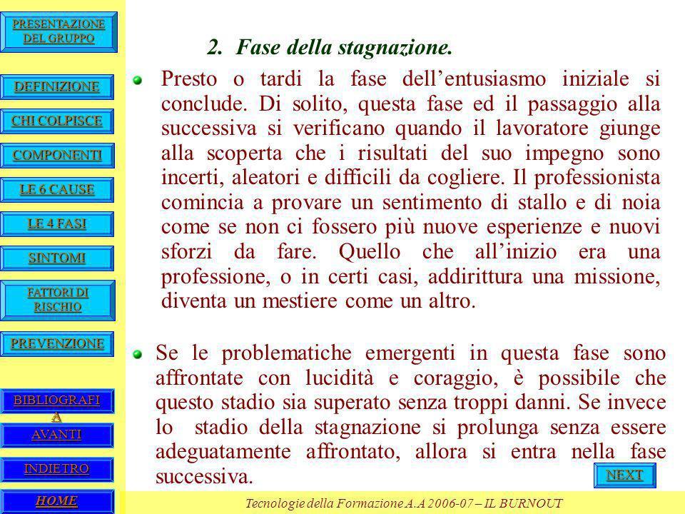 HOME Tecnologie della Formazione A.A 2006-07 – IL BURNOUT BIBLIOGRAFI A BIBLIOGRAFI A PREVENZIONE FATTORI DI RISCHIO FATTORI DI RISCHIO SINTOMI LE 4 FASI LE 4 FASI LE 6 CAUSE LE 6 CAUSE COMPONENTI CHI COLPISCE CHI COLPISCE DEFINIZIONE PRESENTAZIONE DEL GRUPPO PRESENTAZIONE DEL GRUPPO AVANTI INDIETRO Se le problematiche emergenti in questa fase sono affrontate con lucidità e coraggio, è possibile che questo stadio sia superato senza troppi danni.